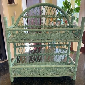VTG Mint Seafoam Green Wicker Vanity Shelf